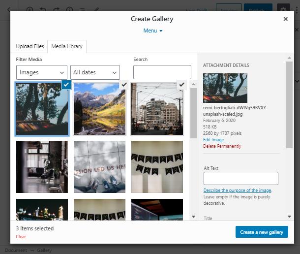 create a gallery