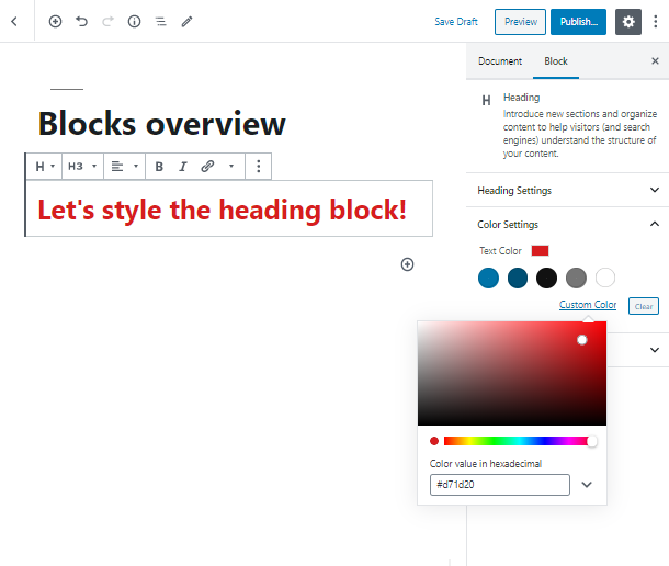color Heading WordPress block