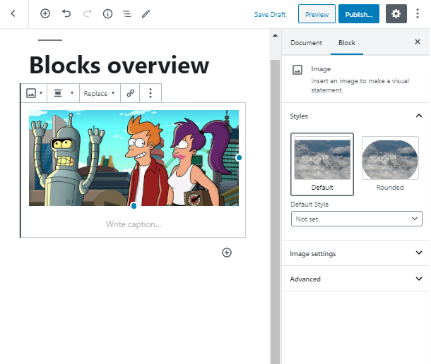 choose a style for image block wordpress