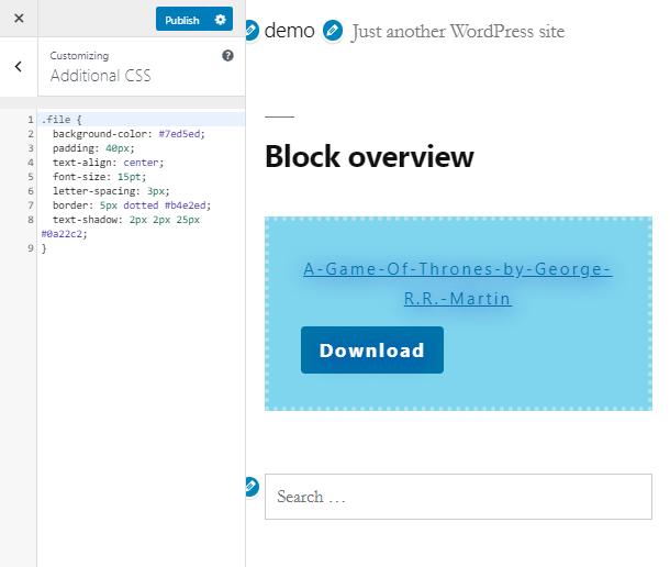 customize a block