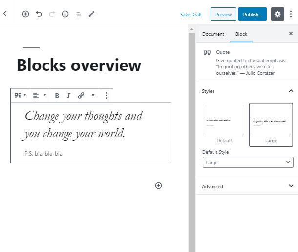 WordPress Quote Block style