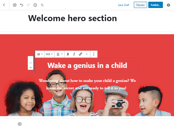 customize the Gutenberg hero block