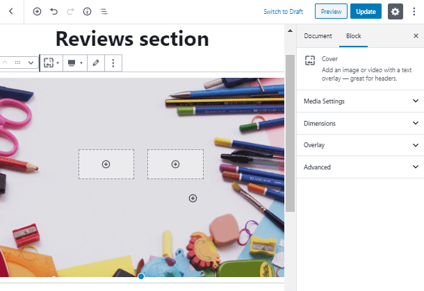 add two columns inside Review Block