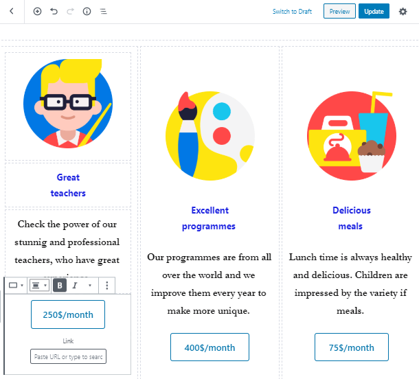 services section in website