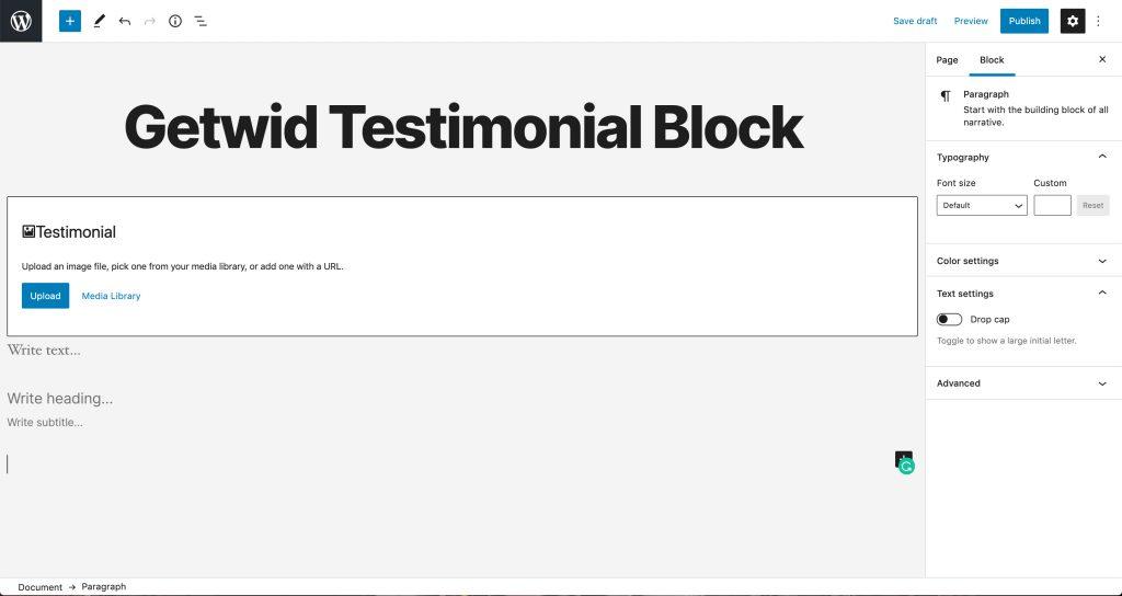 Testimonial block by Getwid
