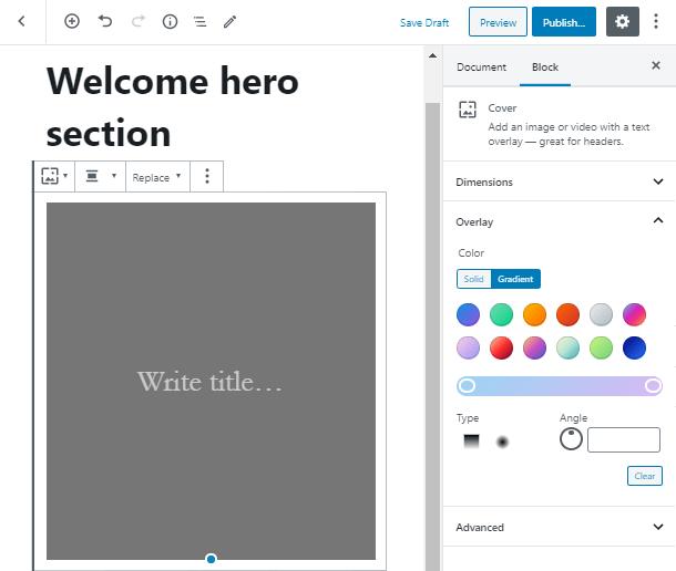 make a Gutenberg hero block gradient