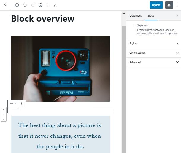 add separator WordPress block