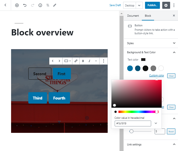 choose the color for WordPress Button Widget