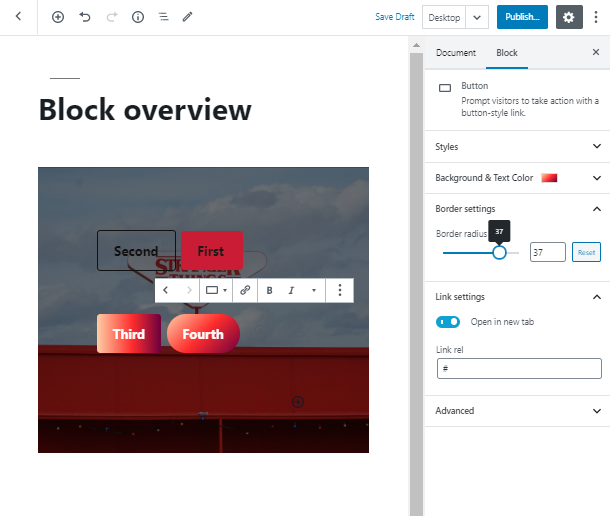 set border radius for WordPress Button Widget
