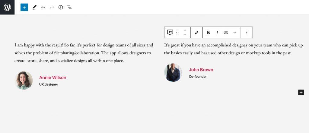 Wordpress Gutenberg review section