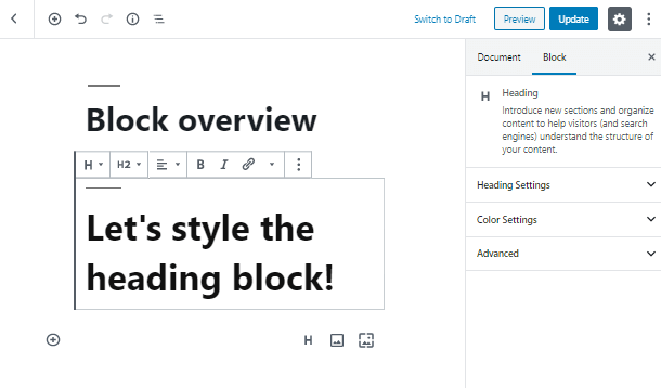 create Heading WordPress block