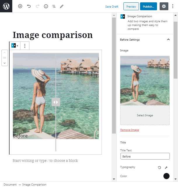 before settings in image comparison WordPress