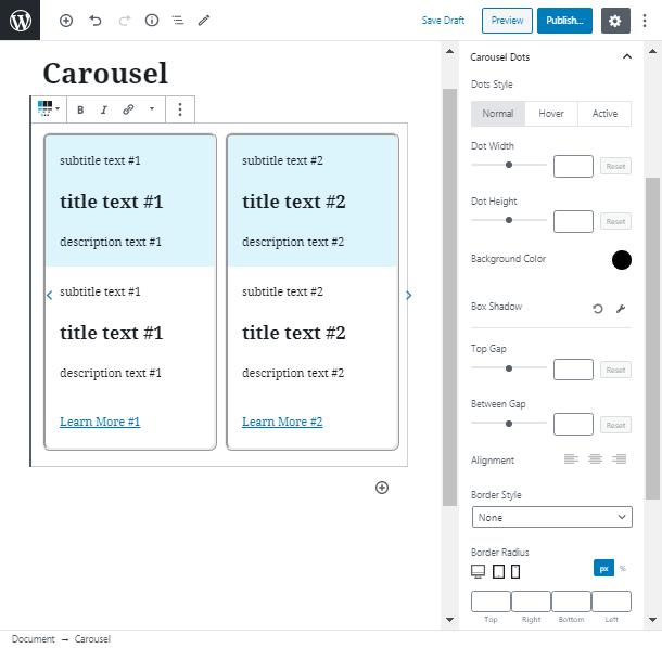 WordPress Carousel block Dots