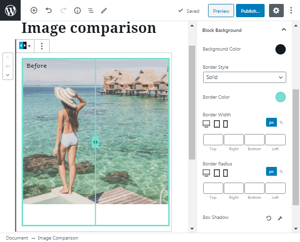 Block Background image comparison WordPress