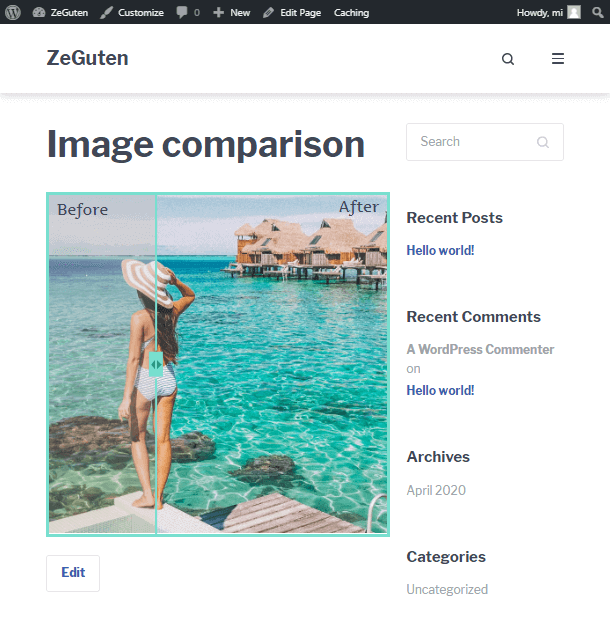 the result using the image comparison WordPress