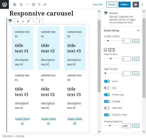 variety of functions post carousel plugin wordpress