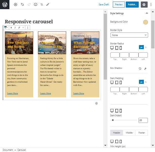 style settings post carousel plugin wordpress