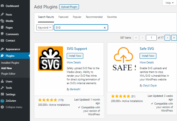 add plugin SVG icons wordpress