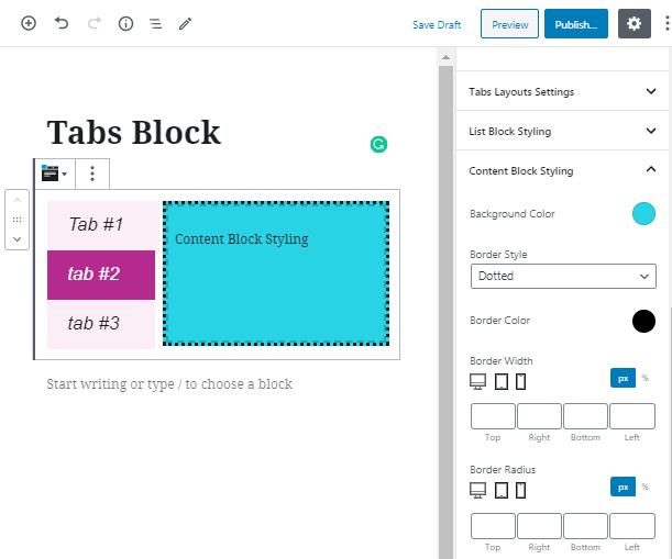 ZeGuten Tabs Block overview
