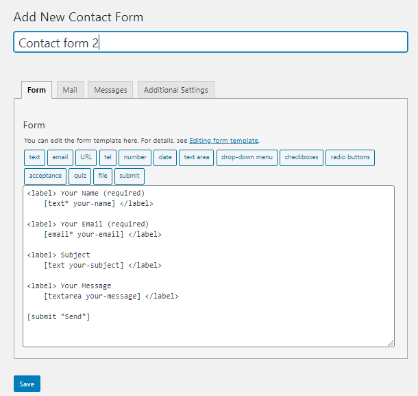 Contact form tutorial