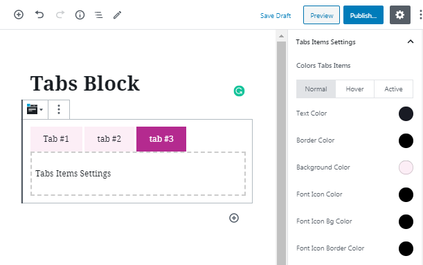 color for Tabs WordPress widget