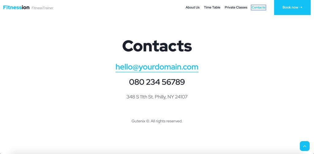 Fitnession Elementor Portfolio Contact Page