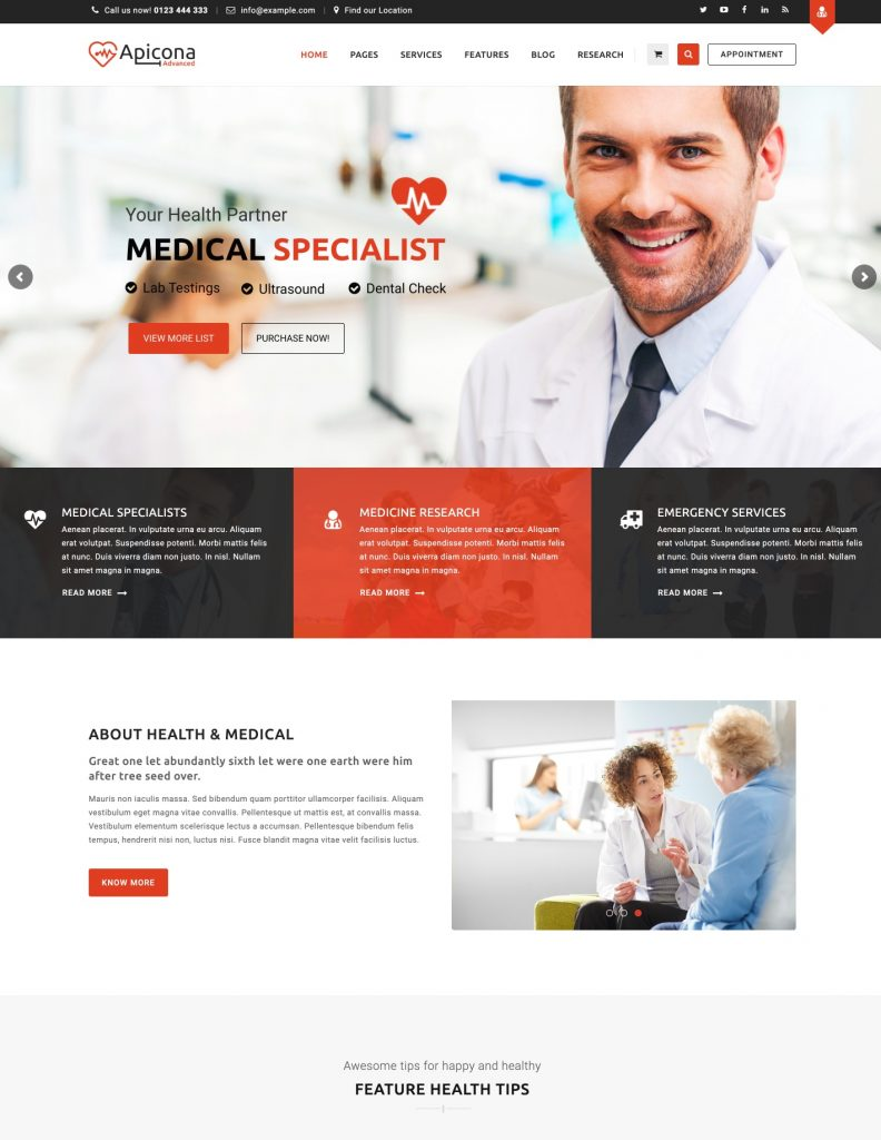 Apicona Medical WordPress Theme