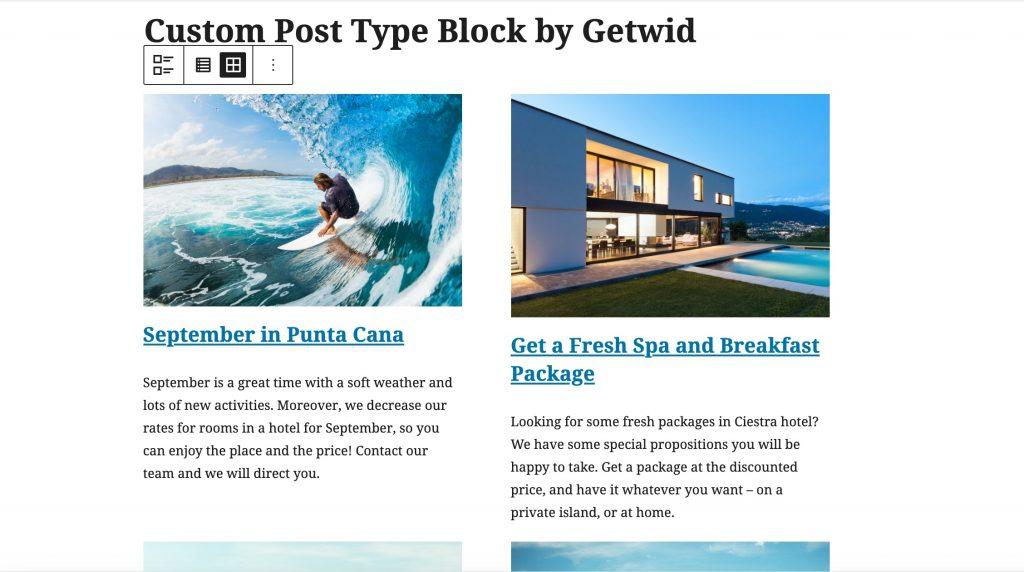 WordPress custom post type by Getwid