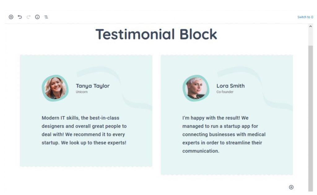 Testimonial Gutenberg Block by Getwid