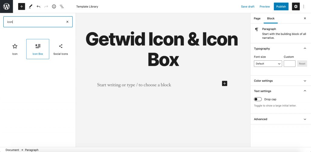 Getwid Icon & Icon Box