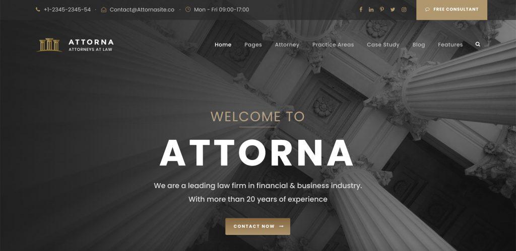 Attorna WordPress lawyer theme