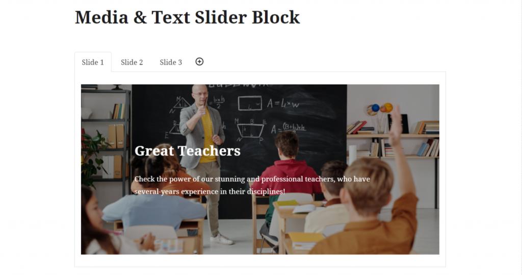 Getwid Media & Text Slider block